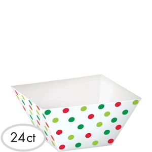 Polka Dot Christmas Cubed Bowls 24ct