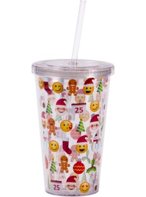Smiley Christmas Double Wall Tumbler with Straw