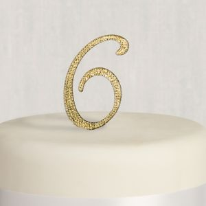 Rhinestone Gold Number 6 Cake Topper