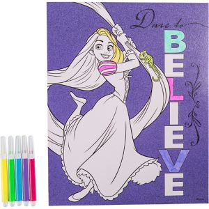 Glitter Rapunzel Coloring Sheet with Markers