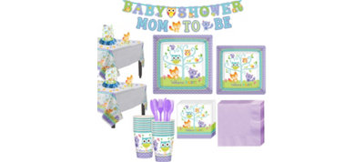 Welcome Baby Woodland Super Tableware Kit for 16 Guests