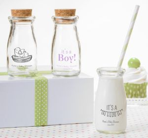 Personalized Baby Shower Glass Milk Bottles with Corks (Printed Glass) (Robin's Egg Blue, It's A Boy Banner)