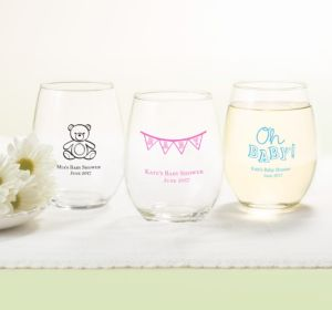 Personalized Baby Shower Stemless Wine Glasses 15oz (Printed Glass) (Red, Baby Bunting)