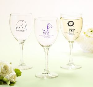 Personalized Baby Shower Wine Glasses (Printed Glass) (Pink, King of the Jungle)