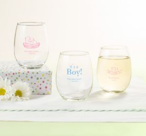 Personalized Baby Shower Stemless Wine Glasses 9oz (Printed Glass) (Robin's Egg Blue, It's A Girl Banner)