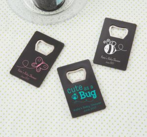 Personalized Baby Shower Credit Card Bottle Openers - Black (Printed Plastic) (Pink, Elephant)