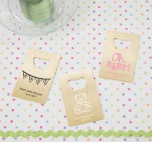Personalized Baby Shower Credit Card Bottle Openers - Gold (Printed Metal) (Navy, Cute As A Button)