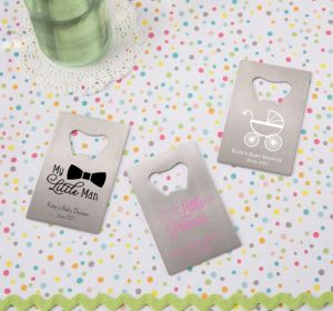 Personalized Baby Shower Credit Card Bottle Openers - Silver (Printed Metal) (Lavender, It's A Girl Banner)
