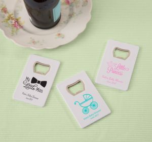 Personalized Baby Shower Credit Card Bottle Openers - White (Printed Plastic) (Bright Pink, My Little Man - Mustache)