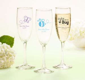 Personalized Baby Shower Champagne Flutes (Printed Glass) (Bright Pink, My Little Man - Mustache)
