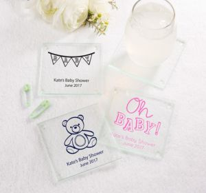 Personalized Baby Shower Glass Coasters, Set of 12 (Printed Glass) (Bright Pink, Pram)