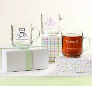 Personalized Baby Shower Glass Coffee Mugs (Printed Glass) (Red, It's A Boy Banner)