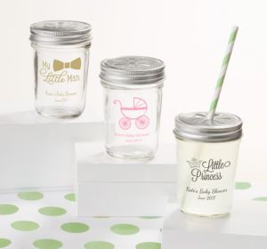 Personalized Baby Shower Mason Jars with Daisy Lids, Set of 12 (Printed Glass) (Bright Pink, Stork)