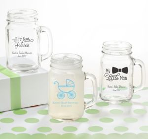 Personalized Baby Shower Mason Jar Mugs (Printed Glass) (Bright Pink, My Little Man - Mustache)
