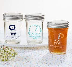 Personalized Baby Shower Mason Jars with Solid Lids (Printed Glass) (Gold, Stork)