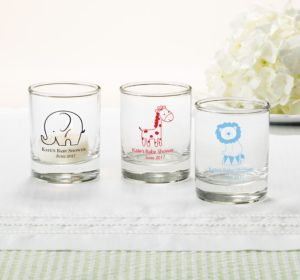 Personalized Baby Shower Shot Glasses (Printed Glass) (Bright Pink, My Little Man - Bowtie)