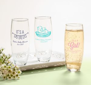 Personalized Baby Shower Stemless Champagne Flutes (Printed Glass) (Bright Pink, Monkey)