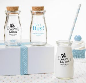 Personalized Baby Shower Glass Milk Bottles with Corks (Printed Glass) (Black, Welcome Boy)