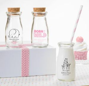 Personalized Baby Shower Glass Milk Bottles with Corks (Printed Glass) (Pink, Pink Safari)