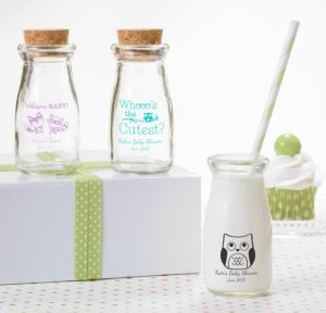 Personalized Baby Shower Glass Milk Bottles with Corks (Printed Glass) (Robin's Egg Blue, Woodland)