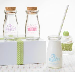 Personalized Baby Shower Glass Milk Bottles with Corks (Printed Glass) (White, Baby Brights)