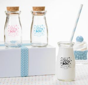 Personalized Baby Shower Glass Milk Bottles with Corks (Printed Glass) (White, Gender Reveal)