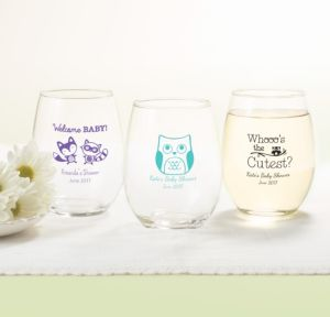 Personalized Baby Shower Stemless Wine Glasses 15oz (Printed Glass) (Lavender, Woodland)