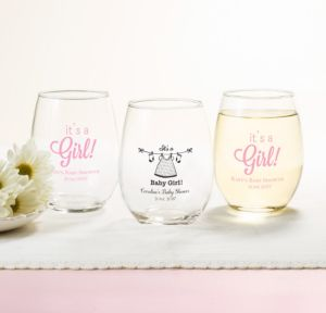 Personalized Baby Shower Stemless Wine Glasses 15oz (Printed Glass) (Pink, Shower Love Girl)