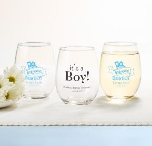 Personalized Baby Shower Stemless Wine Glasses 15oz (Printed Glass) (Sky Blue, Welcome Boy)
