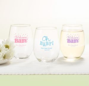 Personalized Baby Shower Stemless Wine Glasses 15oz (Printed Glass) (White, Baby Brights)