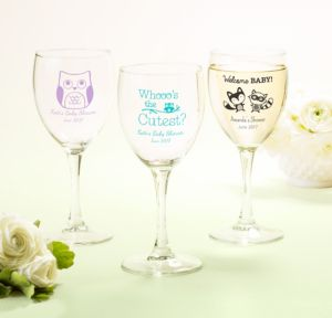 Personalized Baby Shower Wine Glasses (Printed Glass) (Lavender, Woodland)