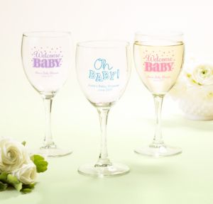 Personalized Baby Shower Wine Glasses (Printed Glass) (White, Baby Brights)