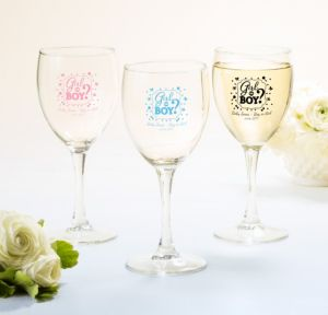 Personalized Baby Shower Wine Glasses (Printed Glass) (White, Gender Reveal)