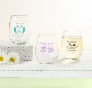 Personalized Baby Shower Stemless Wine Glasses 9oz (Printed Glass) (Lavender, Woodland)