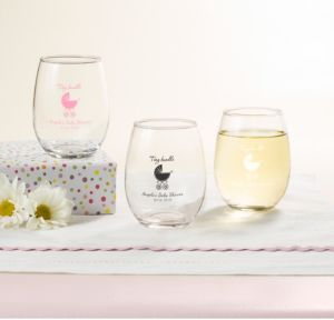 Personalized Baby Shower Stemless Wine Glasses 9oz (Printed Glass) (Pink, Tiny Bundle)