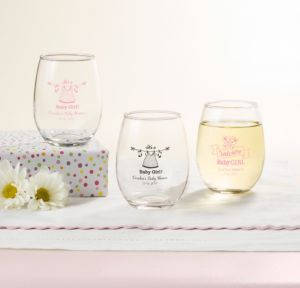 Personalized Baby Shower Stemless Wine Glasses 9oz (Printed Glass) (White, Shower Love Girl)
