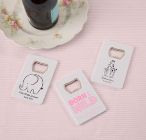 Personalized Baby Shower Credit Card Bottle Openers - White (Printed Plastic) (Bright Pink, Pink Safari)