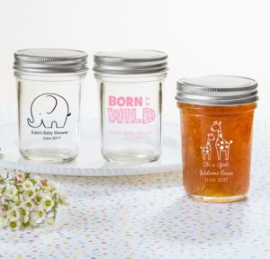 Personalized Baby Shower Mason Jars with Solid Lids (Printed Glass) (Bright Pink, Pink Safari)