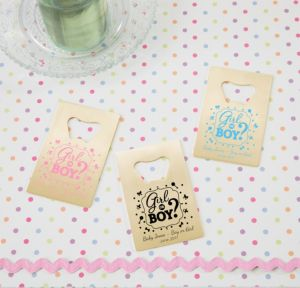 Personalized Baby Shower Credit Card Bottle Openers - Gold (Printed Metal) (Black, Gender Reveal)