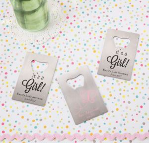 Personalized Baby Shower Credit Card Bottle Openers - Silver (Printed Metal) (Black, Welcome Girl)