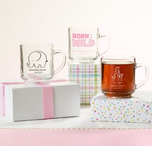 Personalized Baby Shower Glass Coffee Mugs (Printed Glass) (Black, Pink Safari)