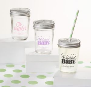 Personalized Baby Shower Mason Jars with Daisy Lids, Set of 12 (Printed Glass) (Black, Baby Brights)