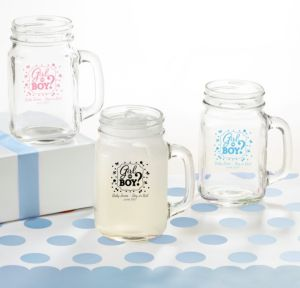 Personalized Baby Shower Mason Jar Mugs (Printed Glass) (Black, Gender Reveal)