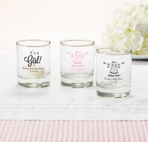 Personalized Baby Shower Shot Glasses (Printed Glass) (Black, Shower Love Girl)