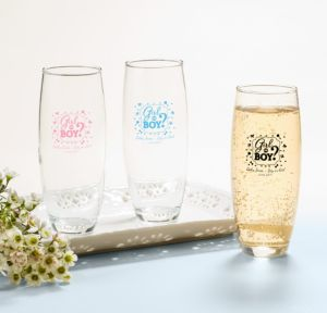Personalized Baby Shower Stemless Champagne Flutes (Printed Glass) (Black, Gender Reveal)