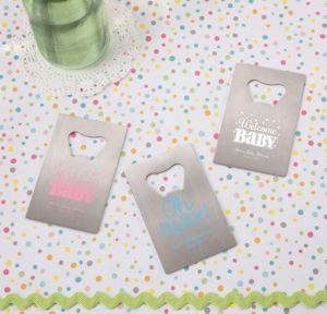 Personalized Baby Shower Credit Card Bottle Openers - Silver (Printed Metal) (Lavender, Baby Brights)