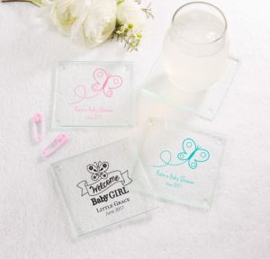 Personalized Baby Shower Glass Coasters, Set of 12 (Printed Glass) (Pink, Welcome Girl)