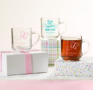 Personalized Baby Shower Glass Coffee Mugs (Printed Glass) (Pink, Welcome Girl)