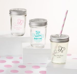 Personalized Baby Shower Mason Jars with Daisy Lids, Set of 12 (Printed Glass) (Pink, Welcome Girl)