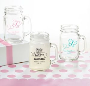 Personalized Baby Shower Mason Jar Mugs (Printed Glass) (Pink, Welcome Girl)